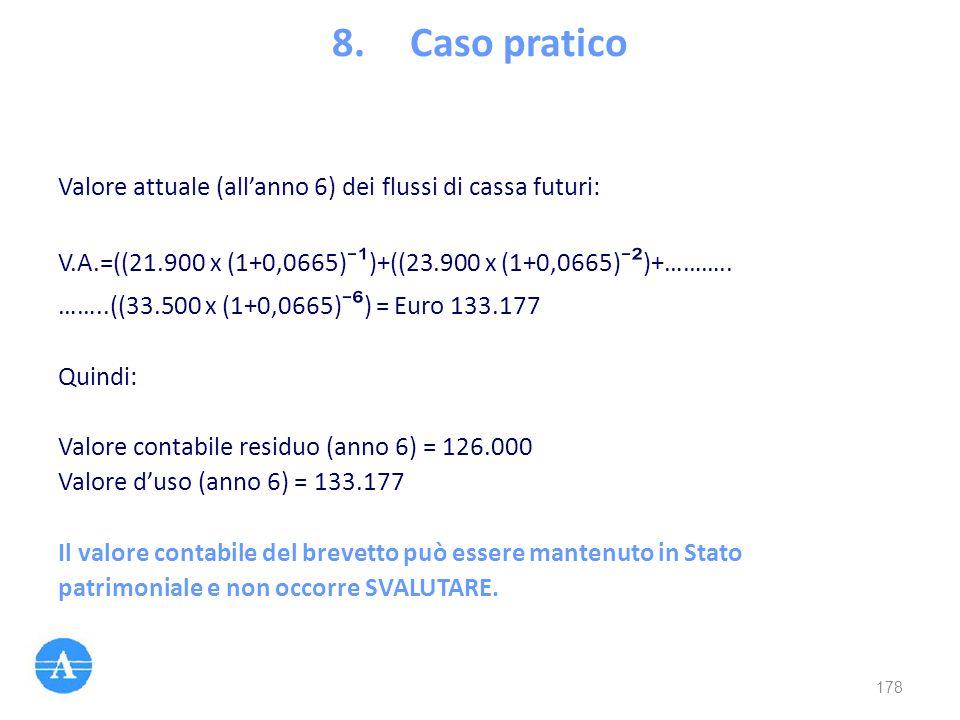 Valore attuale (all'anno 6) dei flussi di cassa futuri: V.A.=((21.900 x (1+0,0665) ⁻ ¹ )+((23.900 x (1+0,0665) ⁻ ² )+……….. ……..((33.500 x (1+0,0665) ⁻