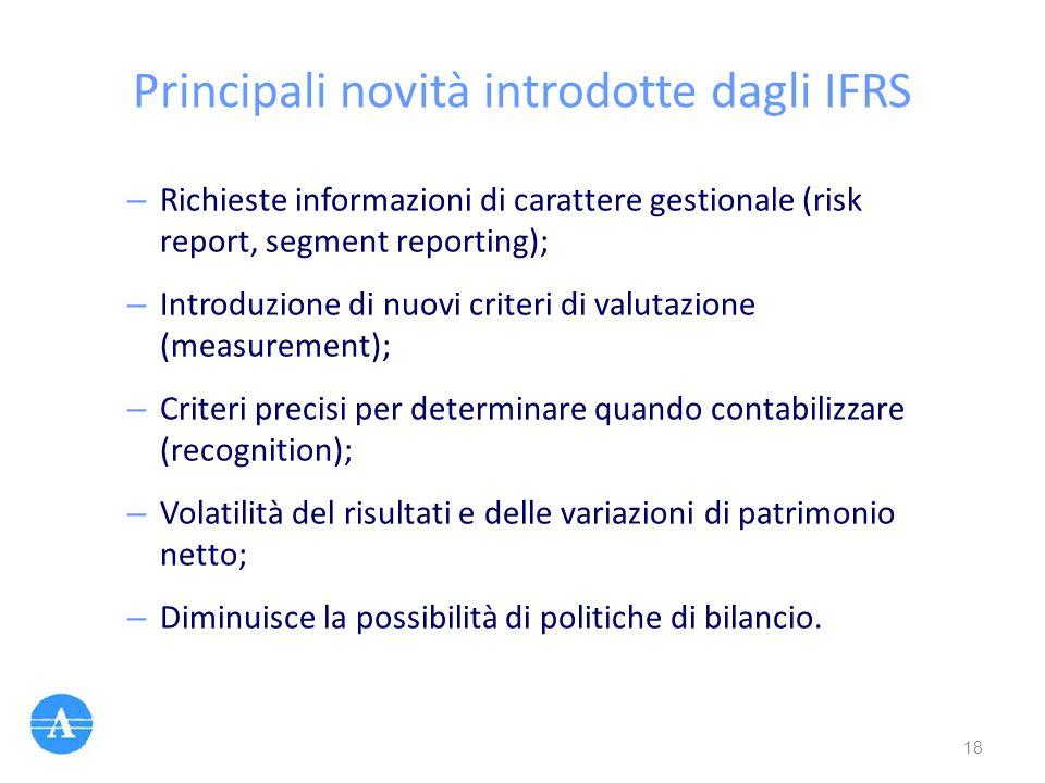Principali novità introdotte dagli IFRS – Richieste informazioni di carattere gestionale (risk report, segment reporting); – Introduzione di nuovi cri