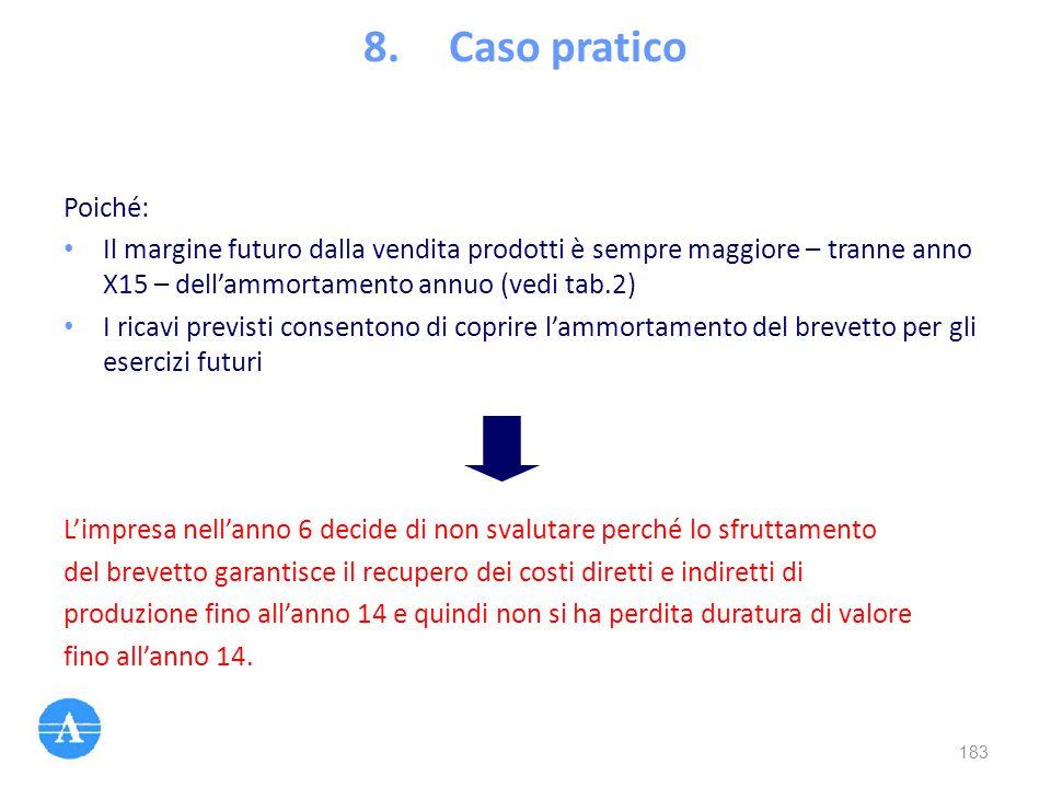 Poiché: Il margine futuro dalla vendita prodotti è sempre maggiore – tranne anno X15 – dell'ammortamento annuo (vedi tab.2) I ricavi previsti consento