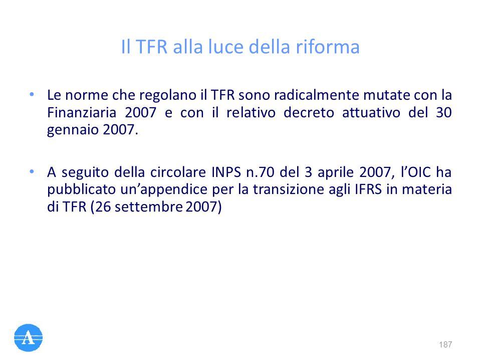 Il TFR alla luce della riforma Le norme che regolano il TFR sono radicalmente mutate con la Finanziaria 2007 e con il relativo decreto attuativo del 3