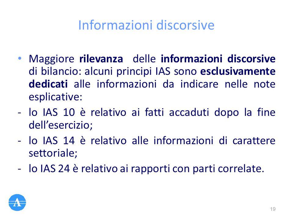 Informazioni discorsive Maggiore rilevanza delle informazioni discorsive di bilancio: alcuni principi IAS sono esclusivamente dedicati alle informazio
