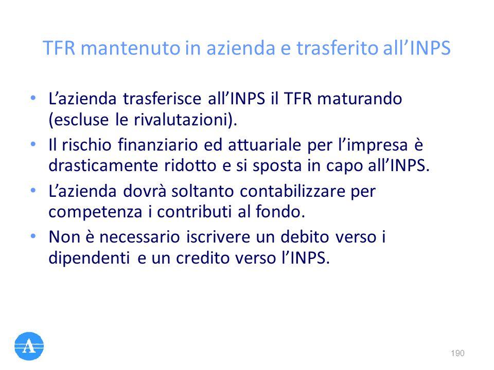 TFR mantenuto in azienda e trasferito all'INPS L'azienda trasferisce all'INPS il TFR maturando (escluse le rivalutazioni). Il rischio finanziario ed a