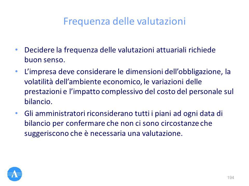 Frequenza delle valutazioni Decidere la frequenza delle valutazioni attuariali richiede buon senso. L'impresa deve considerare le dimensioni dell'obbl