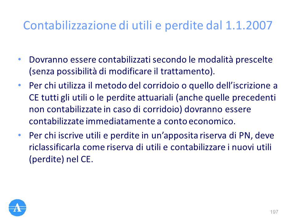Contabilizzazione di utili e perdite dal 1.1.2007 Dovranno essere contabilizzati secondo le modalità prescelte (senza possibilità di modificare il tra
