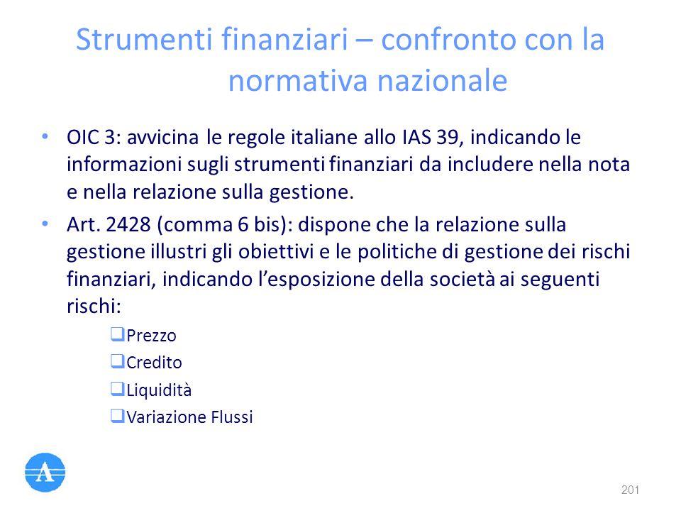 Strumenti finanziari – confronto con la normativa nazionale OIC 3: avvicina le regole italiane allo IAS 39, indicando le informazioni sugli strumenti