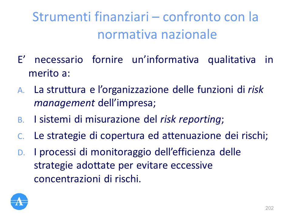 Strumenti finanziari – confronto con la normativa nazionale E' necessario fornire un'informativa qualitativa in merito a: A. La struttura e l'organizz