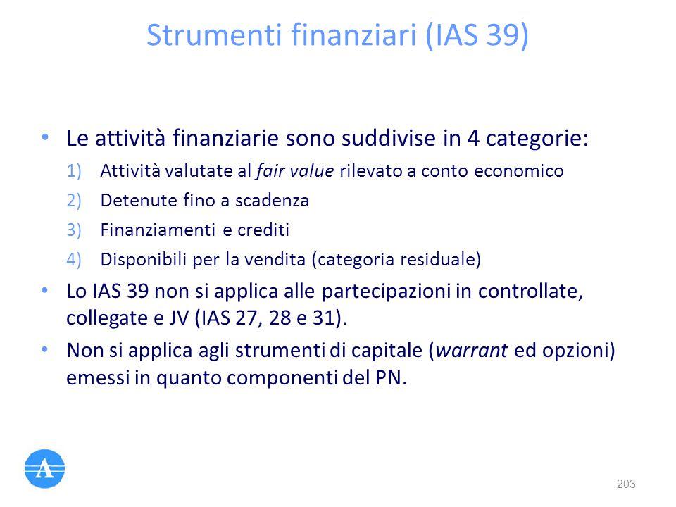 Strumenti finanziari (IAS 39) Le attività finanziarie sono suddivise in 4 categorie: 1) Attività valutate al fair value rilevato a conto economico 2)