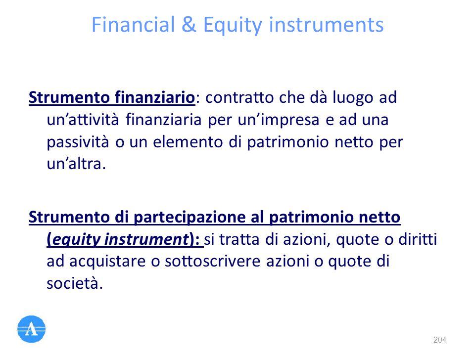 Financial & Equity instruments Strumento finanziario: contratto che dà luogo ad un'attività finanziaria per un'impresa e ad una passività o un element