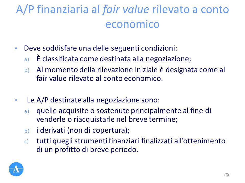 A/P finanziaria al fair value rilevato a conto economico Deve soddisfare una delle seguenti condizioni: a) È classificata come destinata alla negoziaz