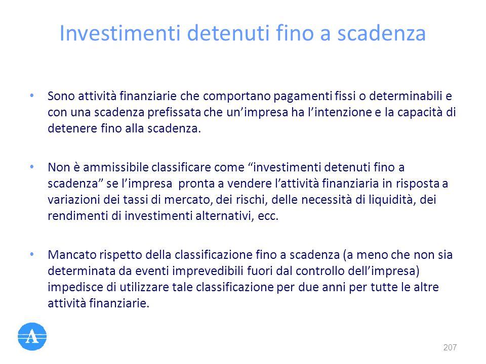 Investimenti detenuti fino a scadenza Sono attività finanziarie che comportano pagamenti fissi o determinabili e con una scadenza prefissata che un'im