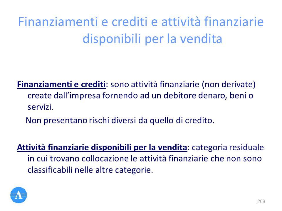 Finanziamenti e crediti e attività finanziarie disponibili per la vendita Finanziamenti e crediti: sono attività finanziarie (non derivate) create dal