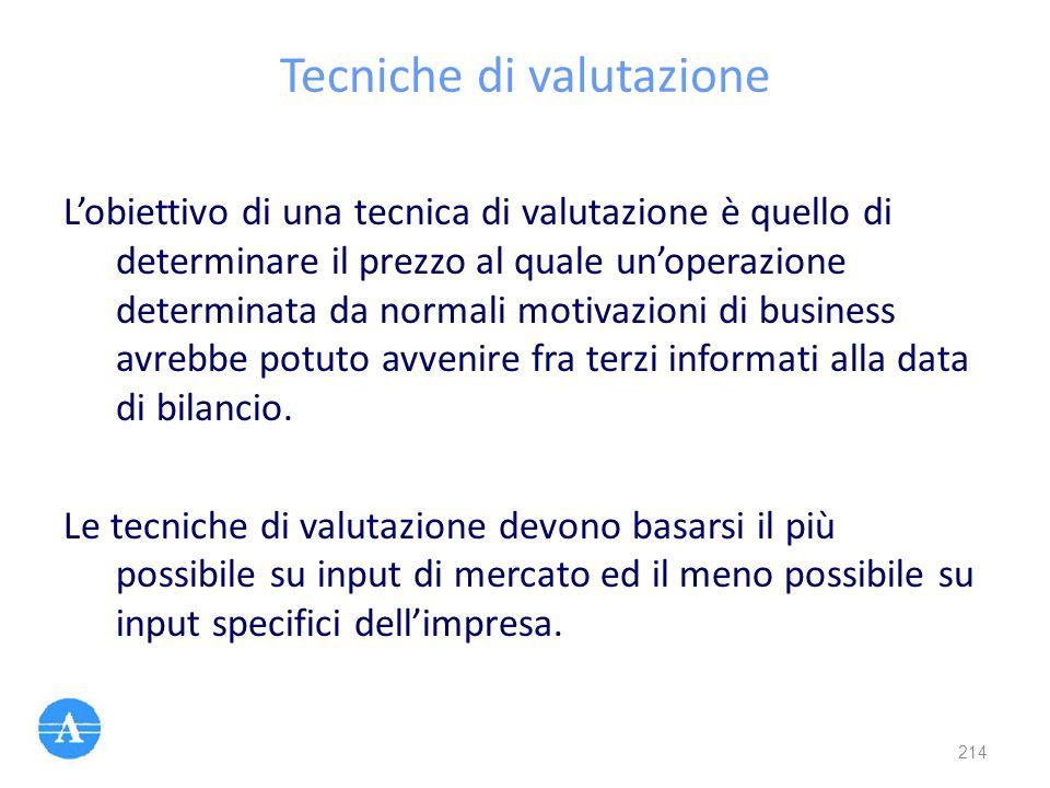 Tecniche di valutazione L'obiettivo di una tecnica di valutazione è quello di determinare il prezzo al quale un'operazione determinata da normali moti