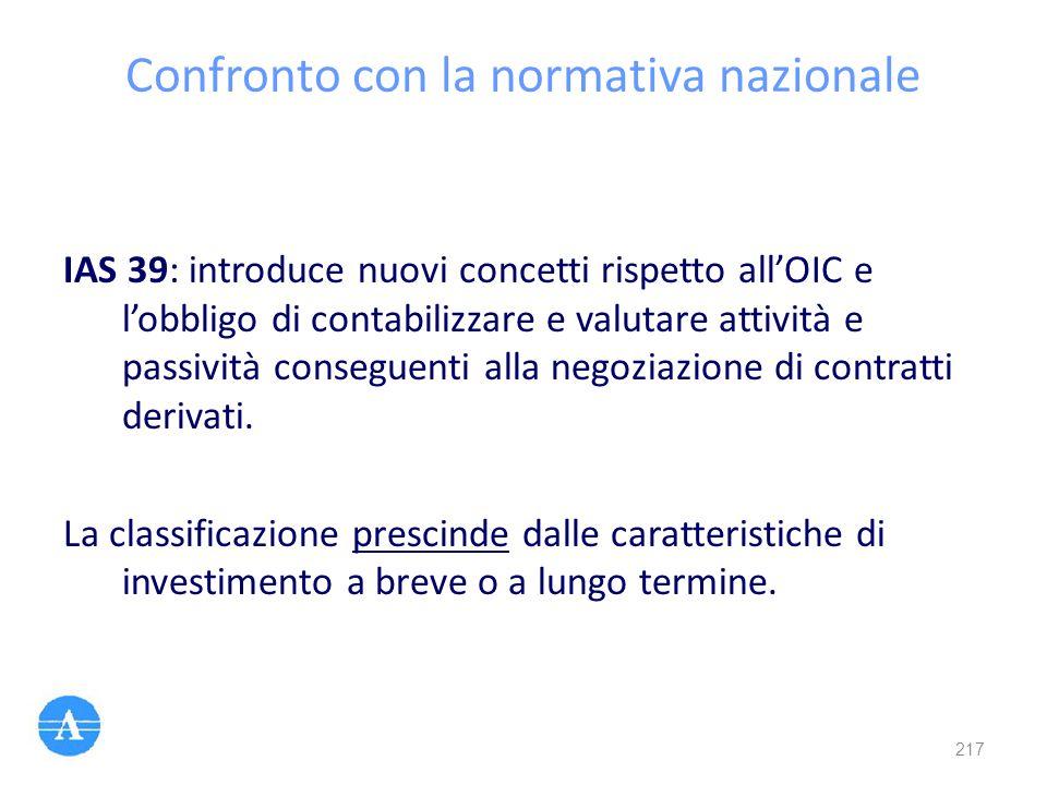 Confronto con la normativa nazionale IAS 39: introduce nuovi concetti rispetto all'OIC e l'obbligo di contabilizzare e valutare attività e passività c