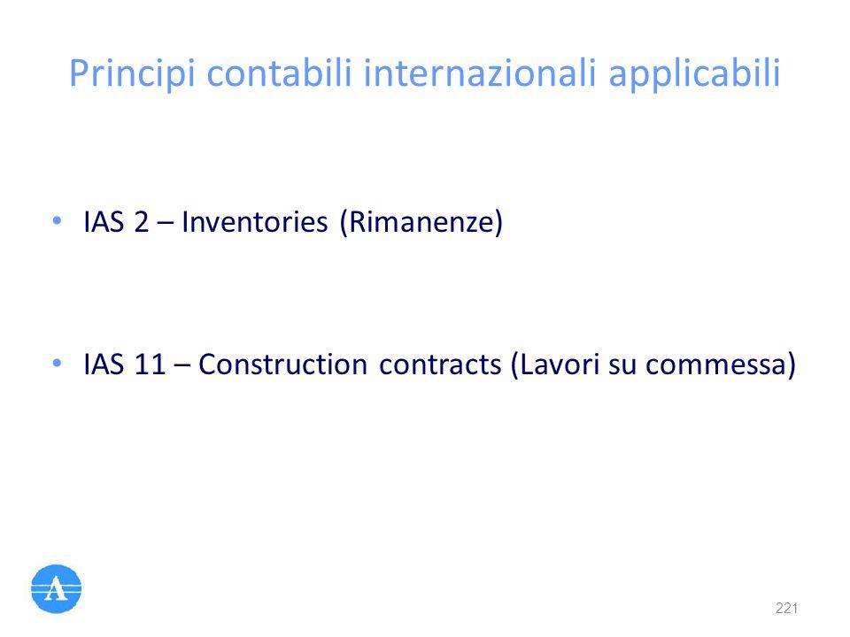 Principi contabili internazionali applicabili IAS 2 – Inventories (Rimanenze) IAS 11 – Construction contracts (Lavori su commessa) 221
