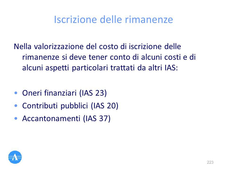 Iscrizione delle rimanenze Nella valorizzazione del costo di iscrizione delle rimanenze si deve tener conto di alcuni costi e di alcuni aspetti partic