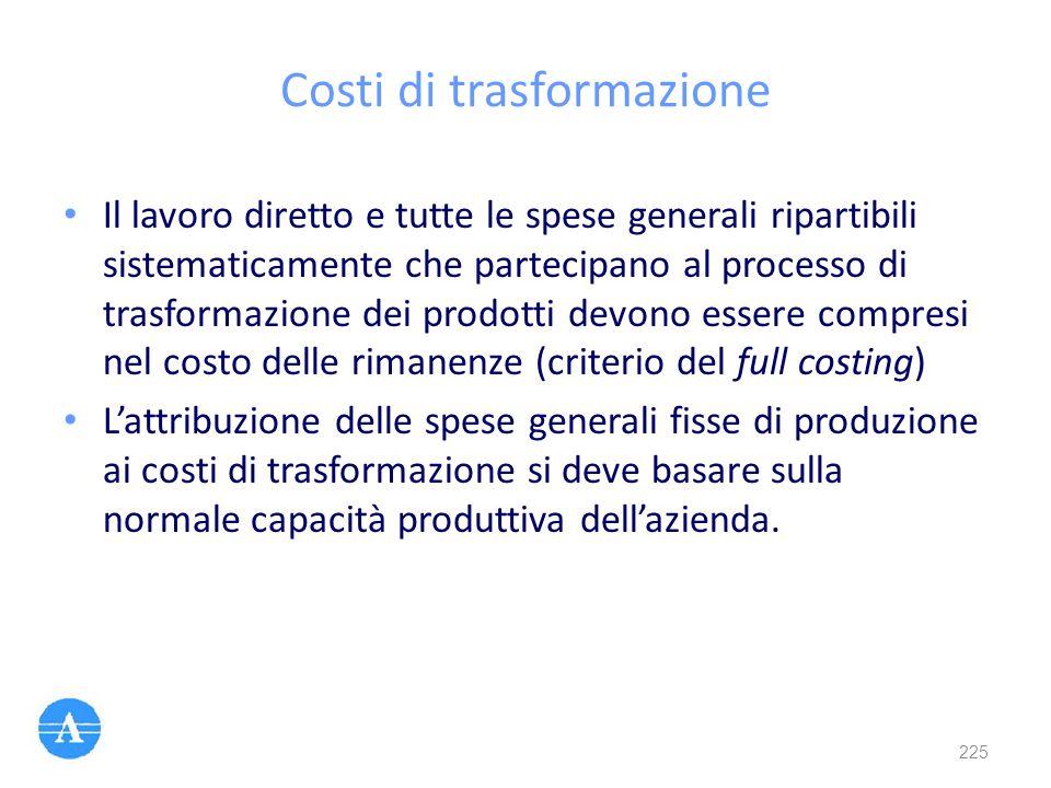 Costi di trasformazione Il lavoro diretto e tutte le spese generali ripartibili sistematicamente che partecipano al processo di trasformazione dei pro