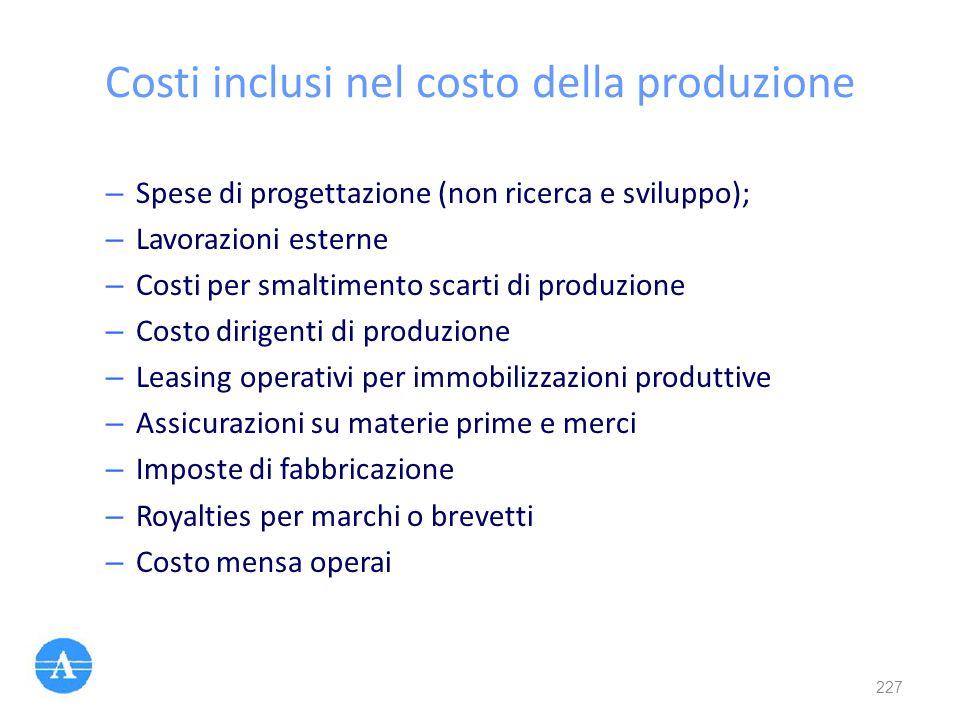 Costi inclusi nel costo della produzione – Spese di progettazione (non ricerca e sviluppo); – Lavorazioni esterne – Costi per smaltimento scarti di pr