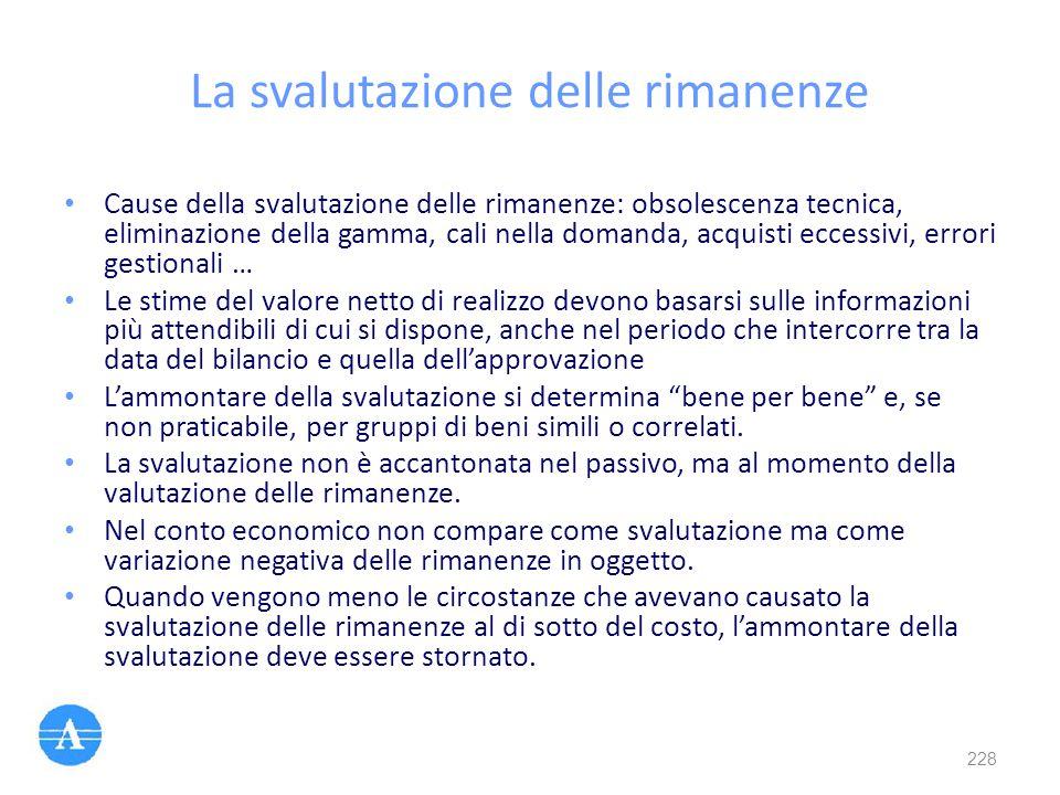 La svalutazione delle rimanenze Cause della svalutazione delle rimanenze: obsolescenza tecnica, eliminazione della gamma, cali nella domanda, acquisti