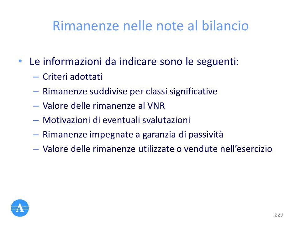 Rimanenze nelle note al bilancio Le informazioni da indicare sono le seguenti: – Criteri adottati – Rimanenze suddivise per classi significative – Val