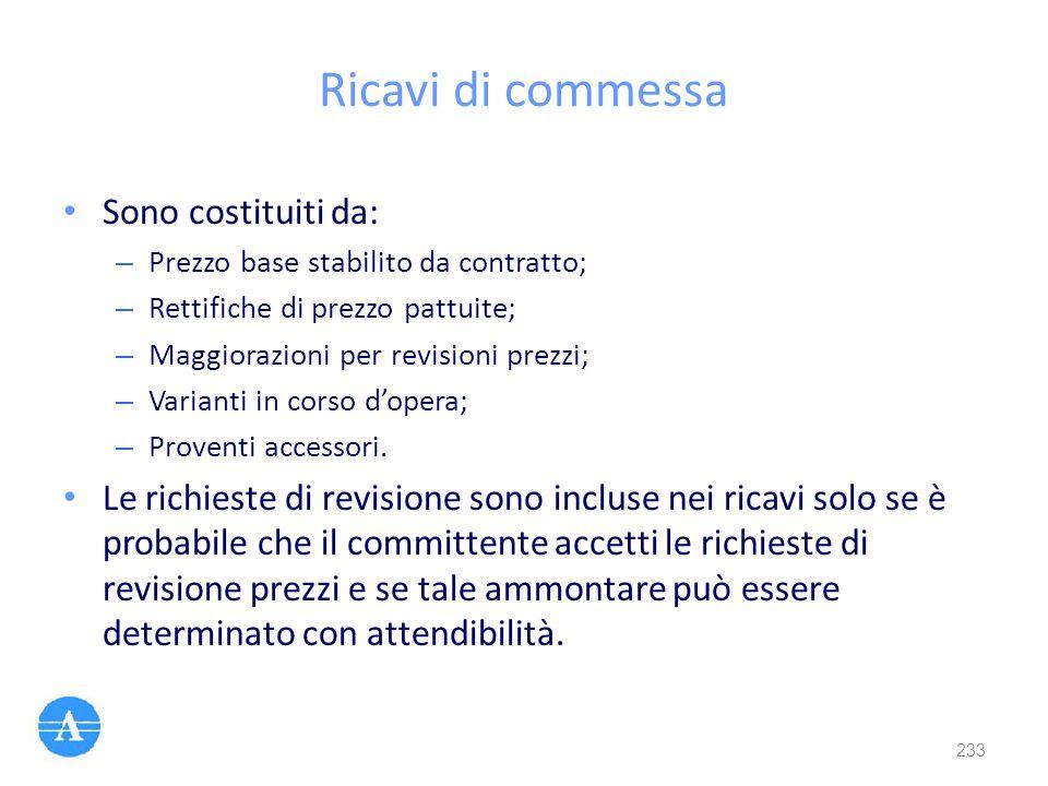 Ricavi di commessa Sono costituiti da: – Prezzo base stabilito da contratto; – Rettifiche di prezzo pattuite; – Maggiorazioni per revisioni prezzi; –