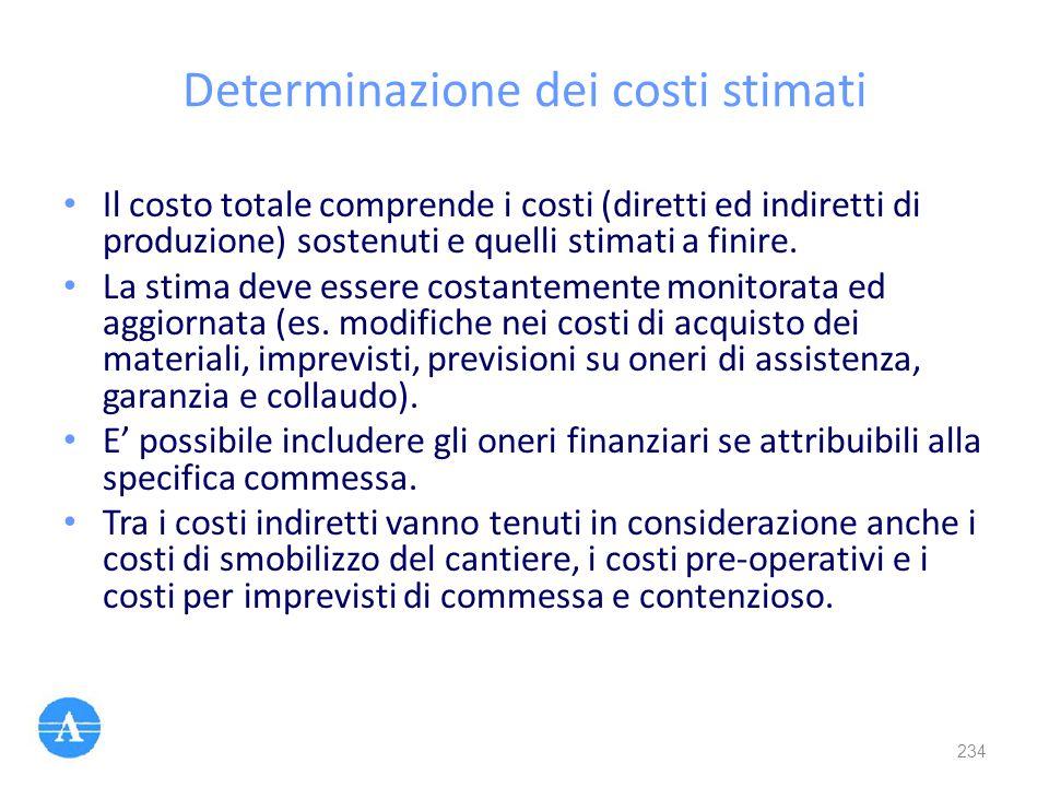 Determinazione dei costi stimati Il costo totale comprende i costi (diretti ed indiretti di produzione) sostenuti e quelli stimati a finire. La stima