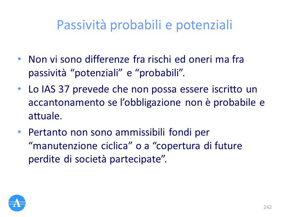 "Passività probabili e potenziali Non vi sono differenze fra rischi ed oneri ma fra passività ""potenziali"" e ""probabili"". Lo IAS 37 prevede che non pos"