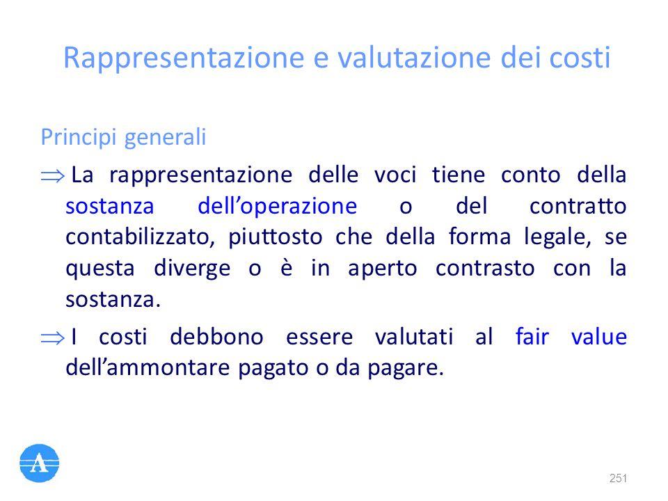 Rappresentazione e valutazione dei costi Principi generali  La rappresentazione delle voci tiene conto della sostanza dell'operazione o del contratto