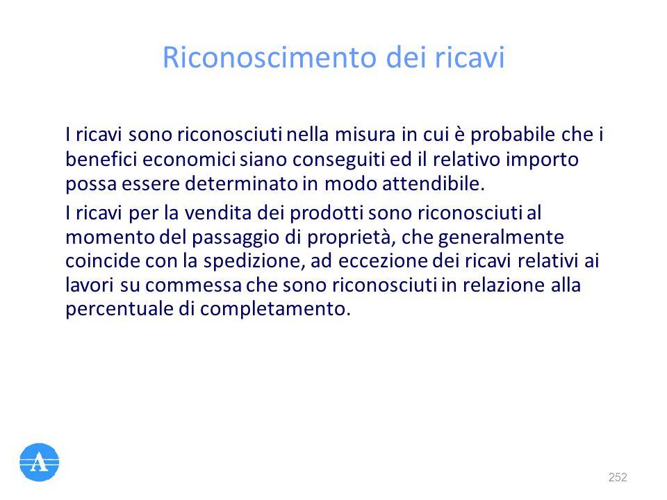 Riconoscimento dei ricavi I ricavi sono riconosciuti nella misura in cui è probabile che i benefici economici siano conseguiti ed il relativo importo