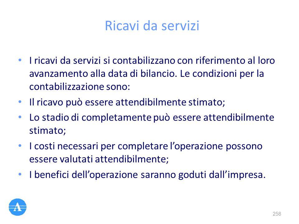 Ricavi da servizi I ricavi da servizi si contabilizzano con riferimento al loro avanzamento alla data di bilancio. Le condizioni per la contabilizzazi