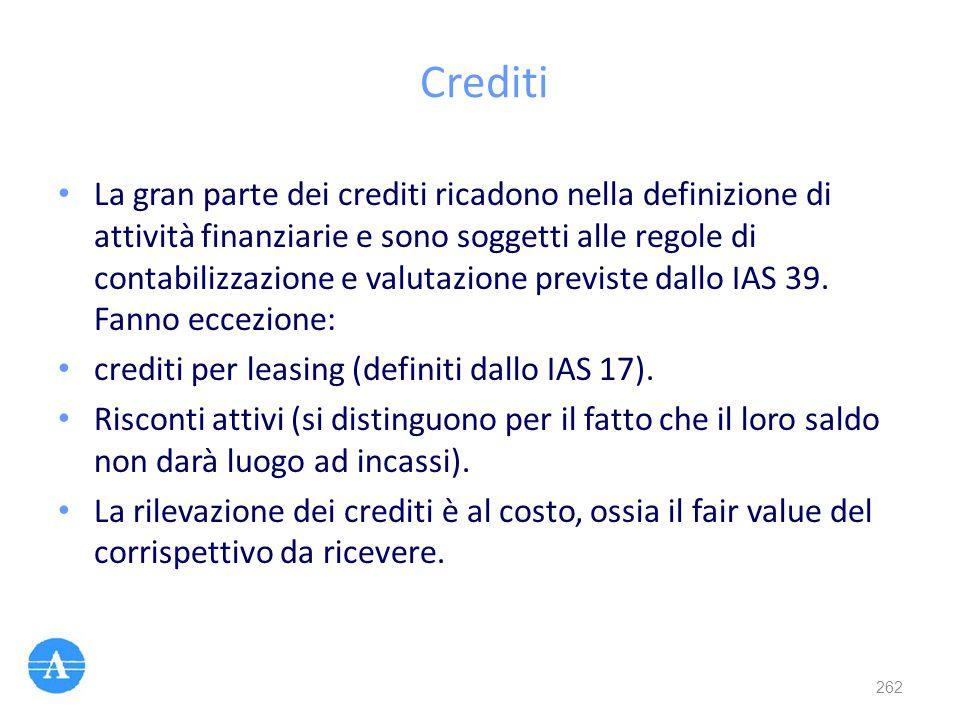 Crediti La gran parte dei crediti ricadono nella definizione di attività finanziarie e sono soggetti alle regole di contabilizzazione e valutazione pr