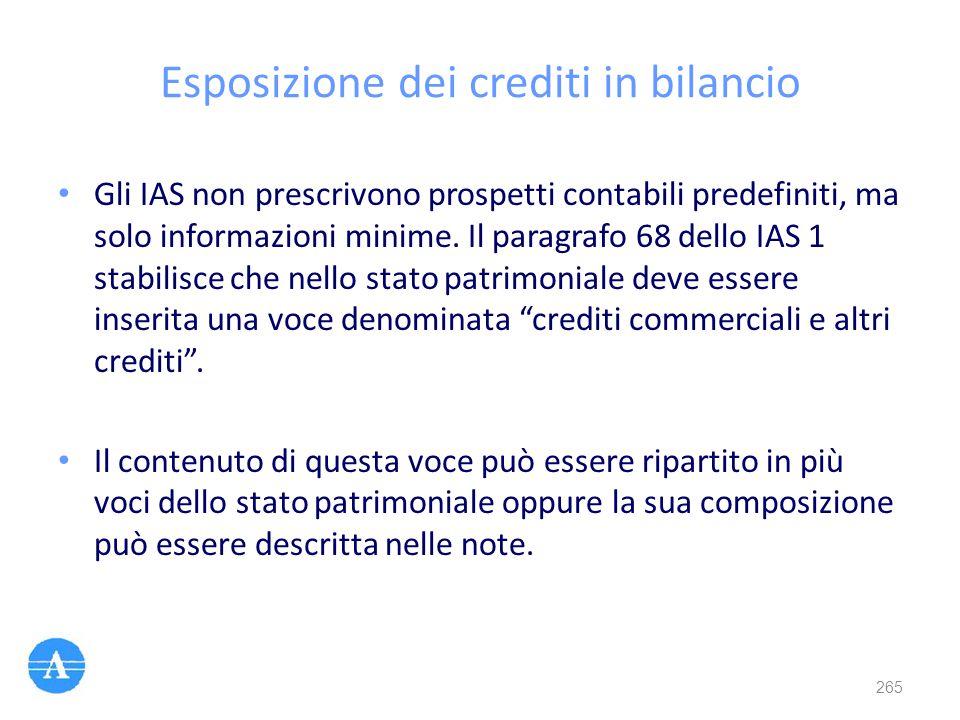 Esposizione dei crediti in bilancio Gli IAS non prescrivono prospetti contabili predefiniti, ma solo informazioni minime. Il paragrafo 68 dello IAS 1