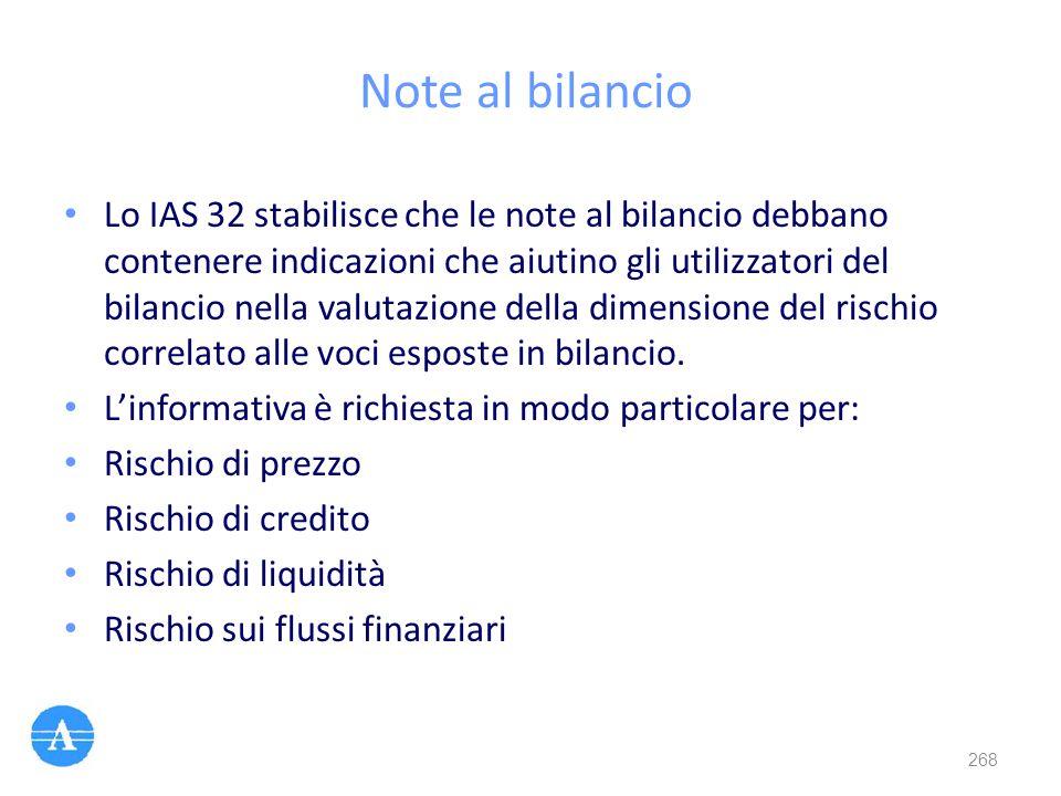 Note al bilancio Lo IAS 32 stabilisce che le note al bilancio debbano contenere indicazioni che aiutino gli utilizzatori del bilancio nella valutazion