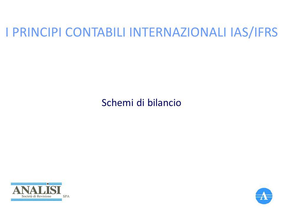 I PRINCIPI CONTABILI INTERNAZIONALI IAS/IFRS Schemi di bilancio
