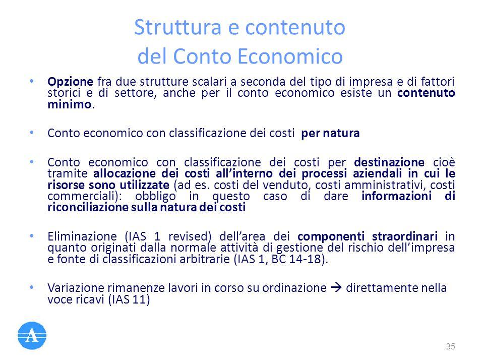 Struttura e contenuto del Conto Economico Opzione fra due strutture scalari a seconda del tipo di impresa e di fattori storici e di settore, anche per