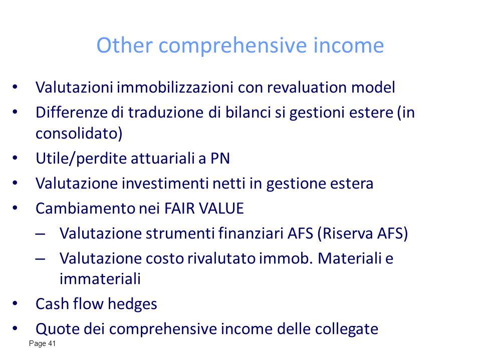 Page 41 Other comprehensive income Valutazioni immobilizzazioni con revaluation model Differenze di traduzione di bilanci si gestioni estere (in conso