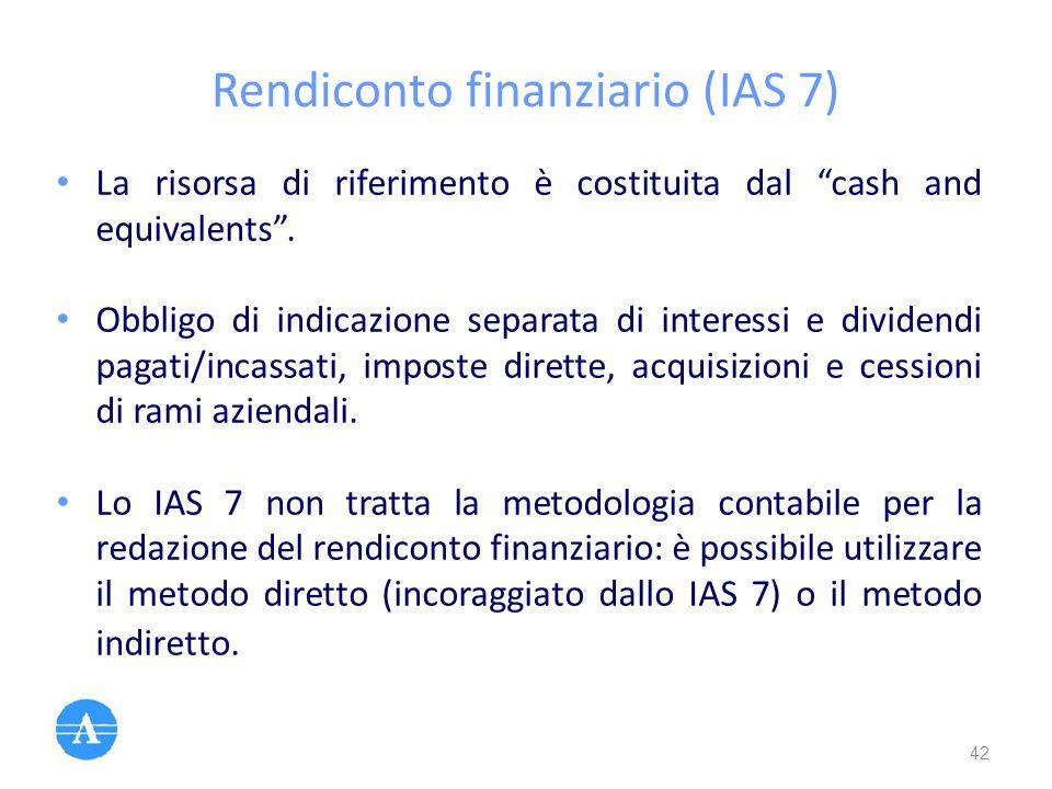 """Rendiconto finanziario (IAS 7) La risorsa di riferimento è costituita dal """"cash and equivalents"""". Obbligo di indicazione separata di interessi e divid"""