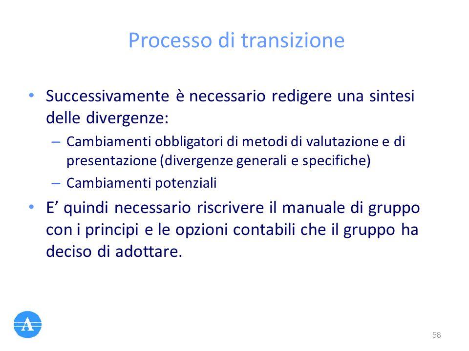 Processo di transizione Successivamente è necessario redigere una sintesi delle divergenze: – Cambiamenti obbligatori di metodi di valutazione e di pr