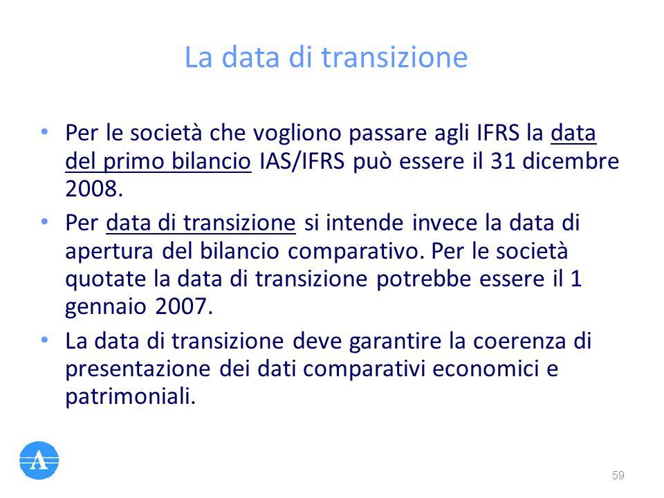 La data di transizione Per le società che vogliono passare agli IFRS la data del primo bilancio IAS/IFRS può essere il 31 dicembre 2008. Per data di t