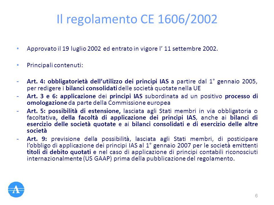 Il regolamento CE 1606/2002 Approvato il 19 luglio 2002 ed entrato in vigore l' 11 settembre 2002. Principali contenuti: - Art. 4: obbligatorietà dell