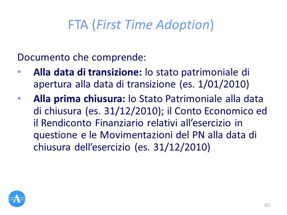 FTA (First Time Adoption) Documento che comprende: Alla data di transizione: lo stato patrimoniale di apertura alla data di transizione (es. 1/01/2010