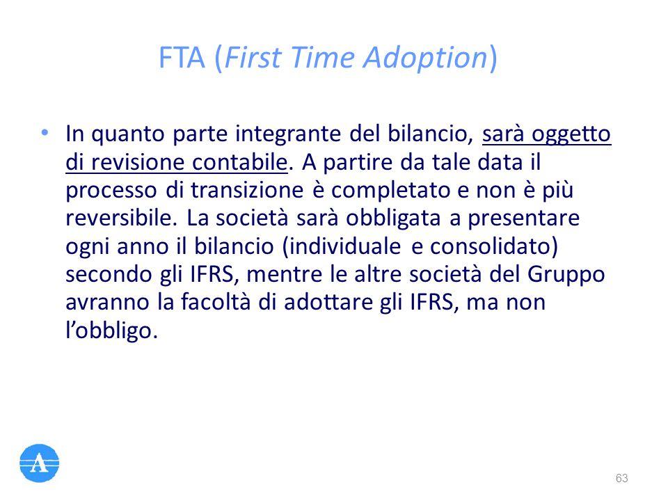 FTA (First Time Adoption) In quanto parte integrante del bilancio, sarà oggetto di revisione contabile. A partire da tale data il processo di transizi