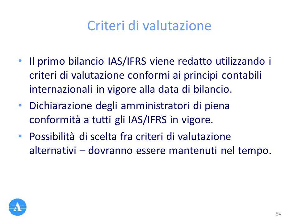 Criteri di valutazione Il primo bilancio IAS/IFRS viene redatto utilizzando i criteri di valutazione conformi ai principi contabili internazionali in
