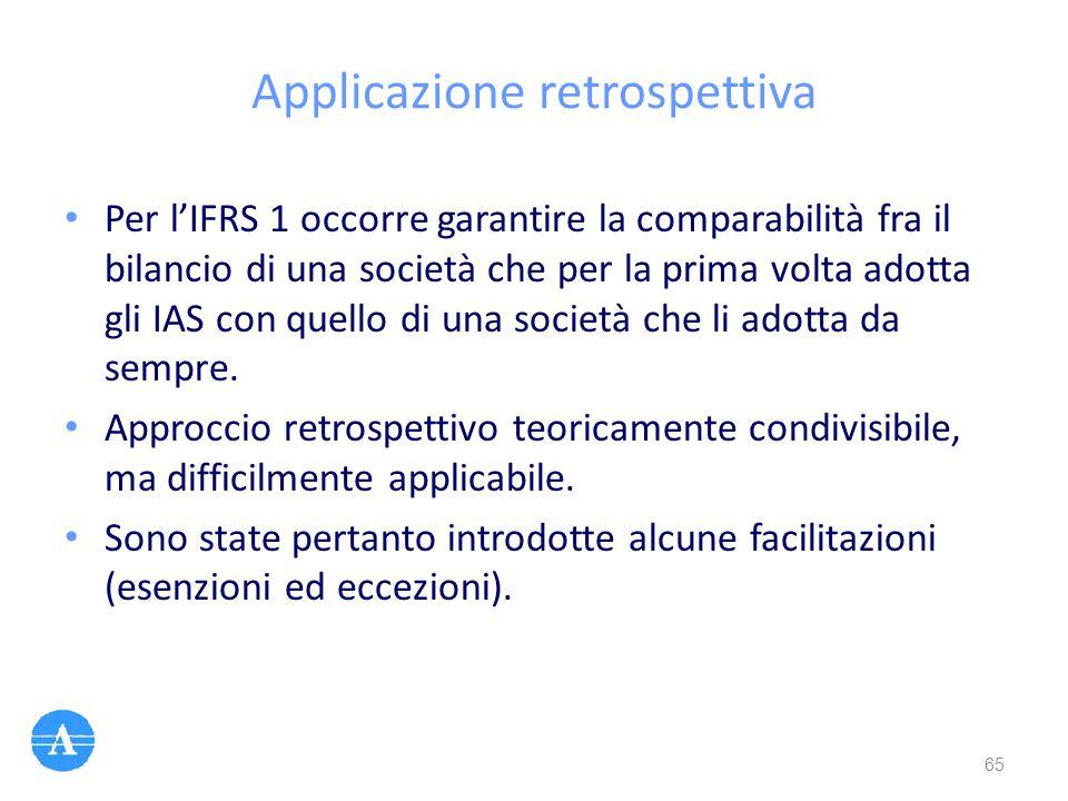 Applicazione retrospettiva Per l'IFRS 1 occorre garantire la comparabilità fra il bilancio di una società che per la prima volta adotta gli IAS con qu