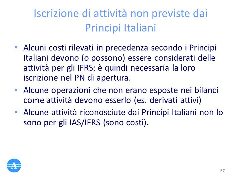 Iscrizione di attività non previste dai Principi Italiani Alcuni costi rilevati in precedenza secondo i Principi Italiani devono (o possono) essere co