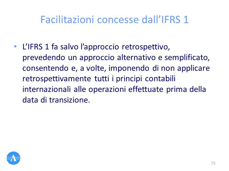 Facilitazioni concesse dall'IFRS 1 L'IFRS 1 fa salvo l'approccio retrospettivo, prevedendo un approccio alternativo e semplificato, consentendo e, a v