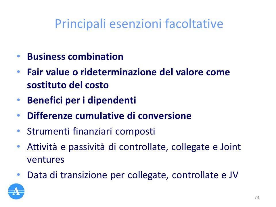 Principali esenzioni facoltative Business combination Fair value o rideterminazione del valore come sostituto del costo Benefici per i dipendenti Diff