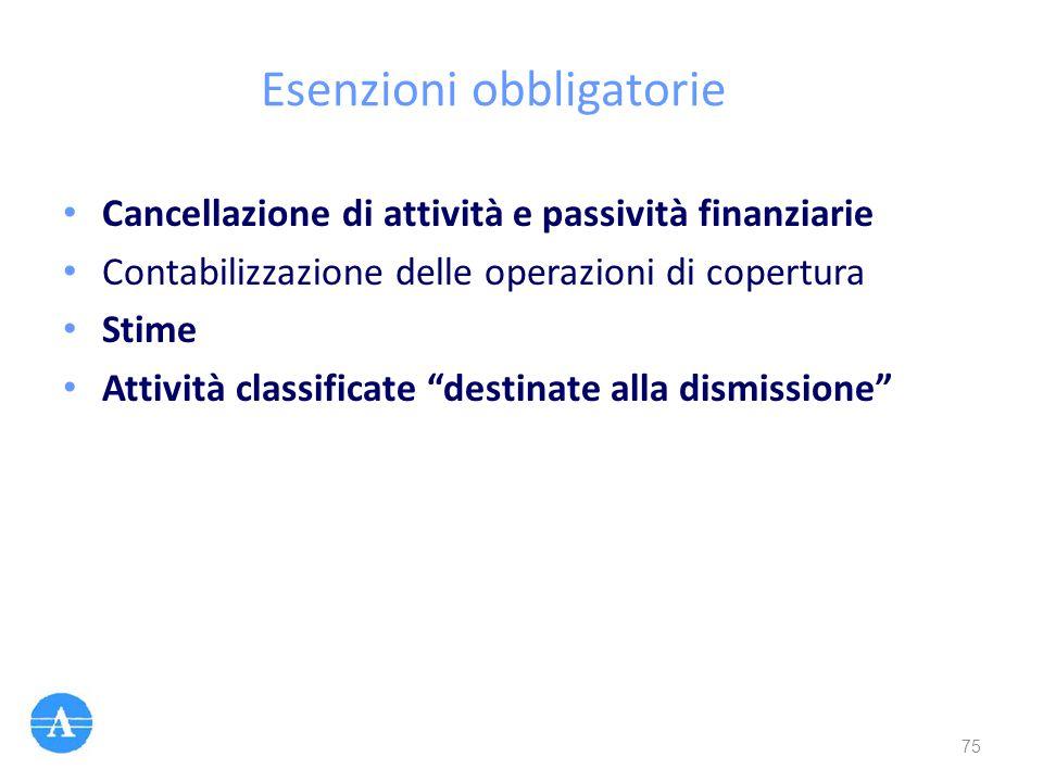"""Esenzioni obbligatorie Cancellazione di attività e passività finanziarie Contabilizzazione delle operazioni di copertura Stime Attività classificate """""""