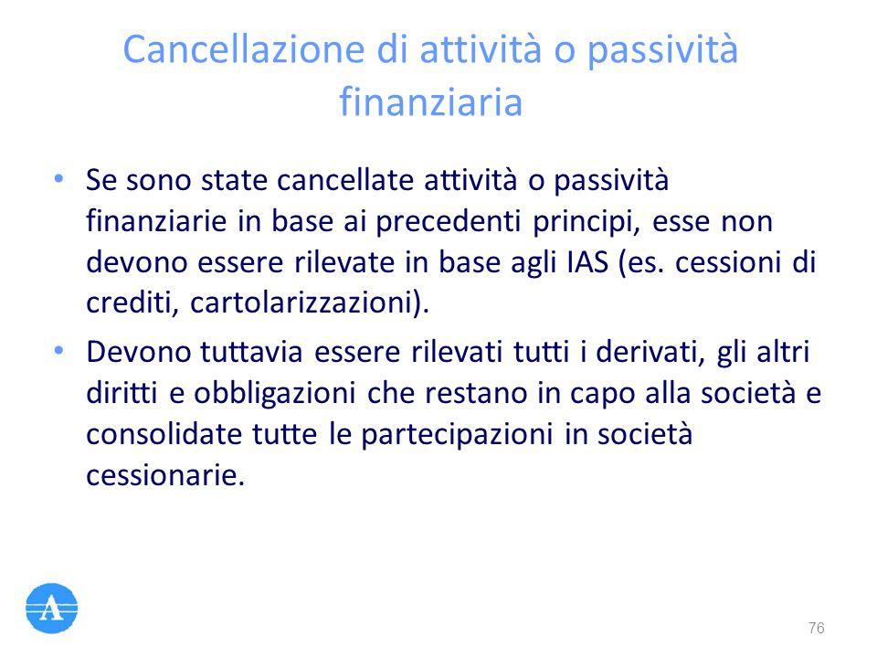 Cancellazione di attività o passività finanziaria Se sono state cancellate attività o passività finanziarie in base ai precedenti principi, esse non d