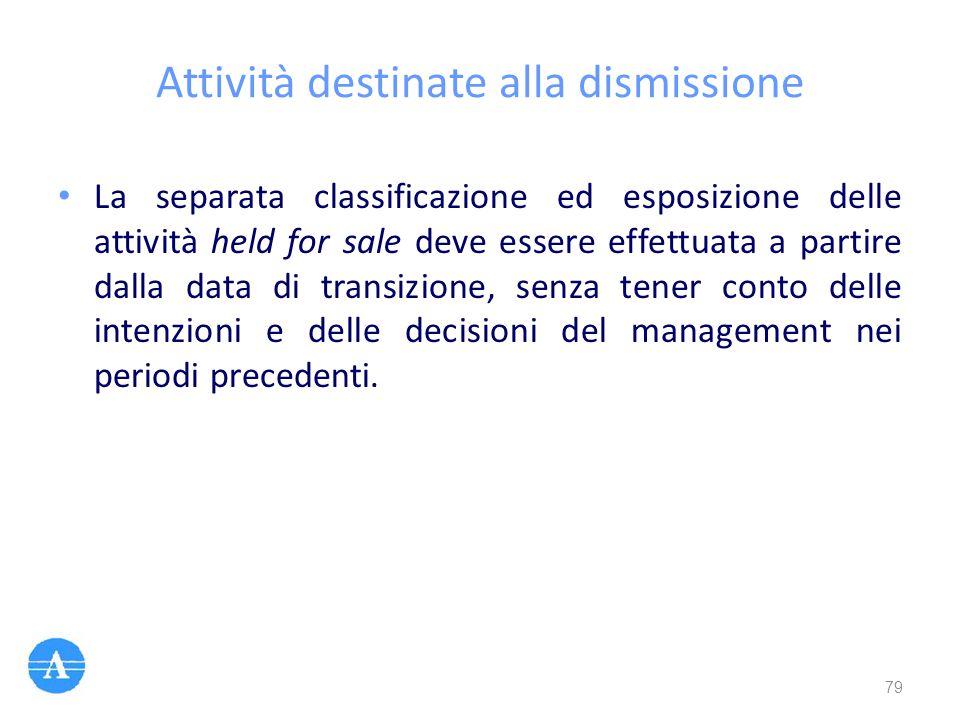 Attività destinate alla dismissione La separata classificazione ed esposizione delle attività held for sale deve essere effettuata a partire dalla dat