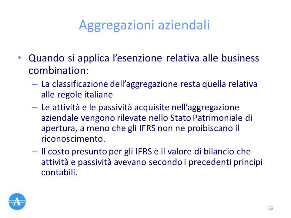 Aggregazioni aziendali Quando si applica l'esenzione relativa alle business combination: – La classificazione dell'aggregazione resta quella relativa